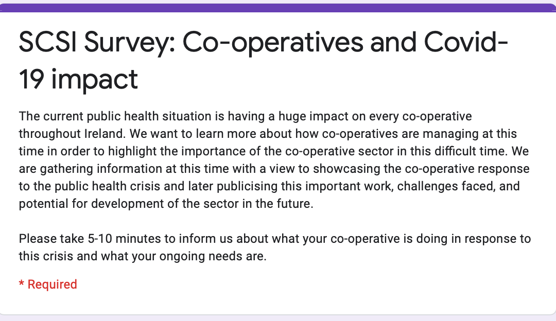 SCSI Survey on Irish Co-operatives during Covid-19 Pandemic