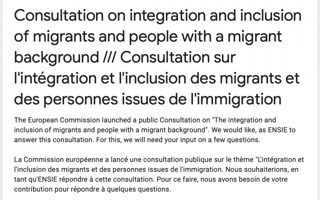 EU Consultation on integration and inclusion of migrants and people with a migrant background 21st October 2020