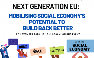 Save the date 27/11- Next Generation EU: Mobilising social economy's potential to #BuildBackBetter