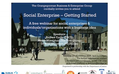 "GRANGEGORMAN BUSINESS & ENTERPRISE GROUP WEBINAR – ""SOCIAL ENTERPRISE – GETTING STARTED"" – TUESDAY 17H NOVEMBER, 2PM TO 3.30PM"