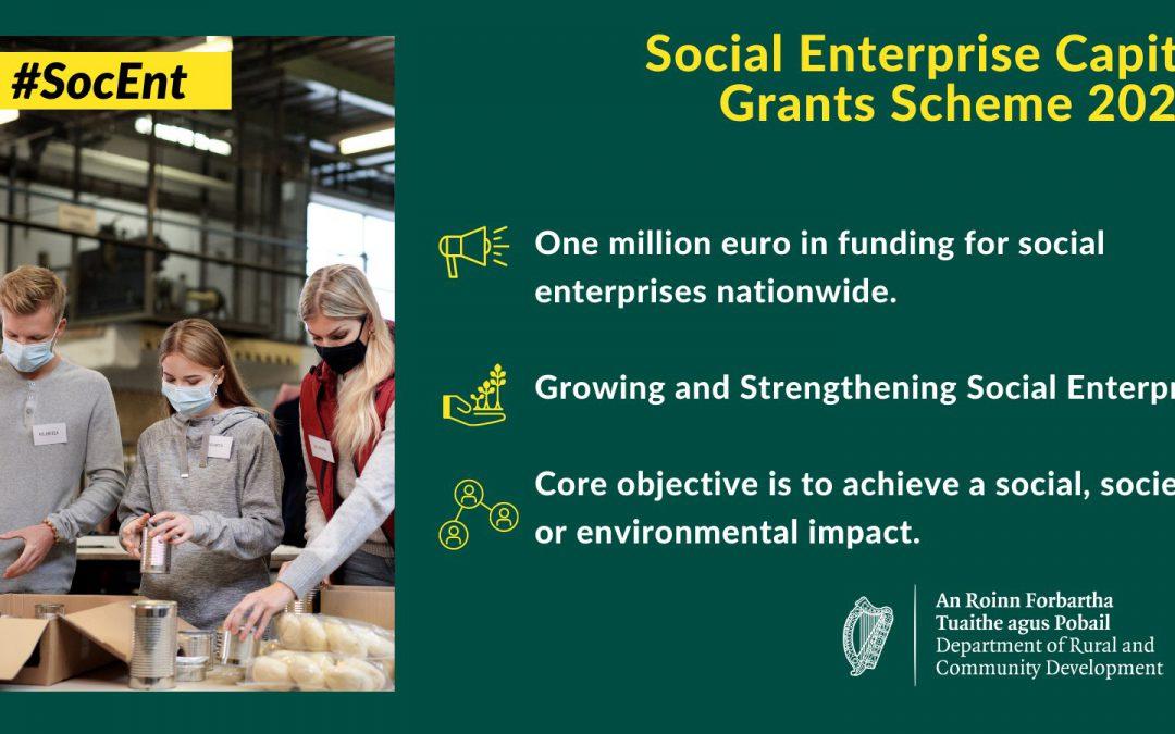 Minister Humphreys announces one million euro Social Enterprise Capital Grants Scheme 2021